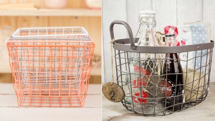 otras cestas de metal que pueden resultar sper decorativas son las que ofrecen en mr wonderful en la imagen de la izquierda puedes ver unos bonitos