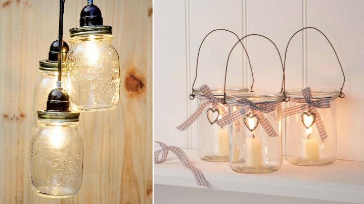 Manualidades para decorar tus tarros de cristal - Lamparas con botes de cristal ...