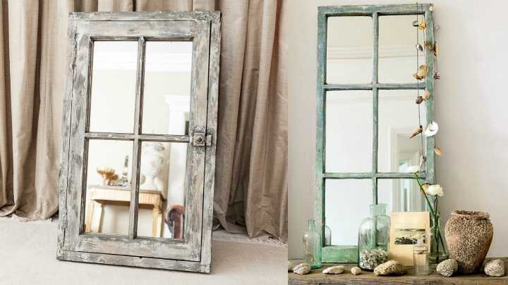 Decorar con ventanas antiguas for Espejos grandes de pared vintage