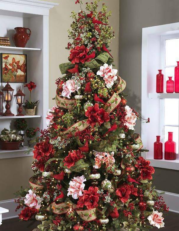 arboles de Navidad con flores 1