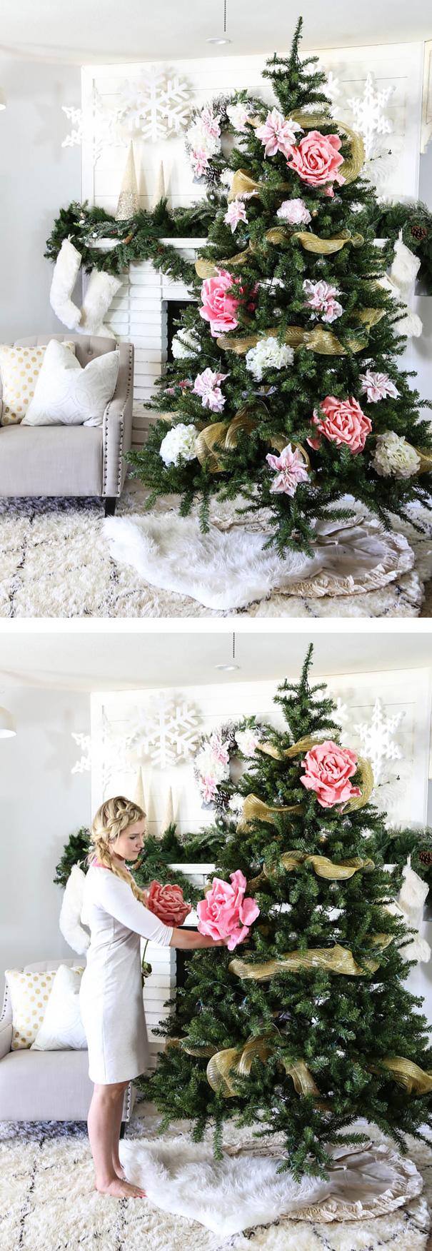 arboles de Navidad con flores 11