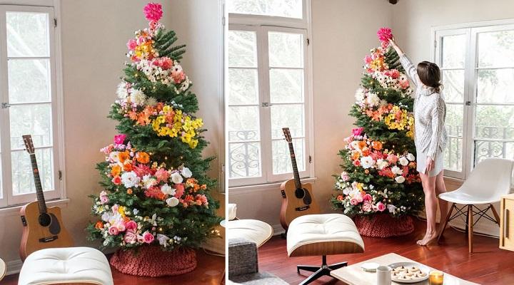 Rboles de navidad decorados con flores - Arboles secos decorados ...