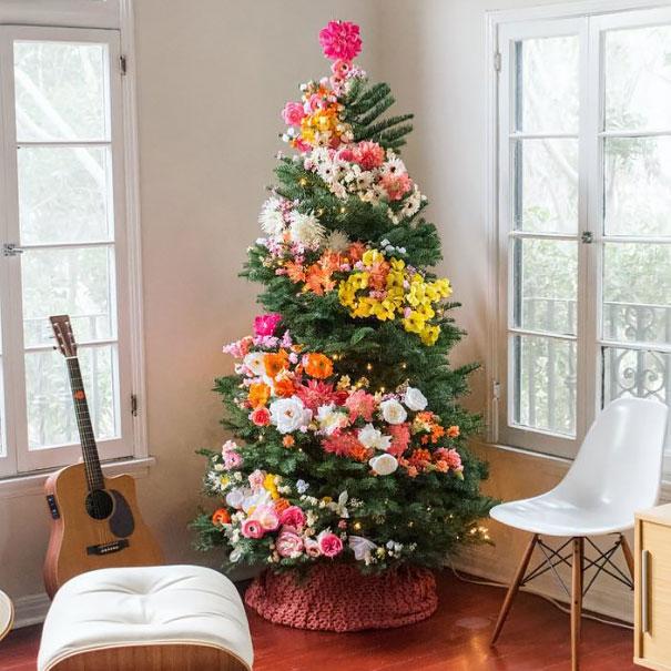 arboles de Navidad con flores 2