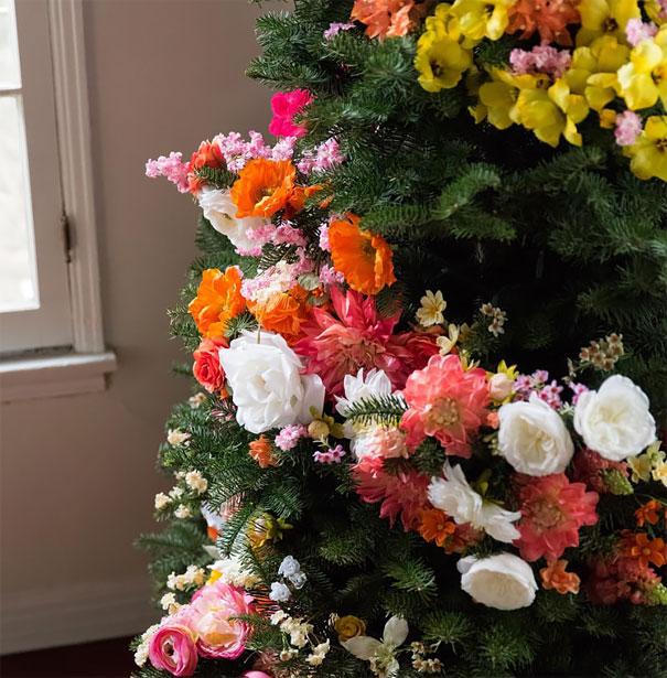 arboles de Navidad con flores 3