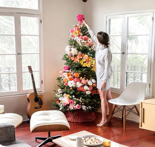arboles de Navidad con flores 4