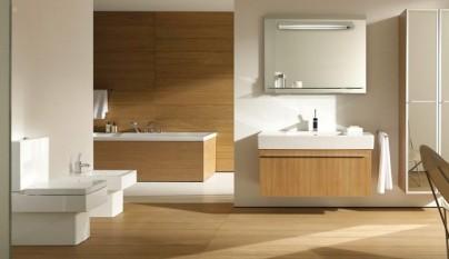 blanco y madera bano