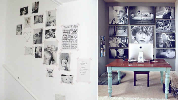 Ideas para decorar con fotos sin marco - Como decorar pared con fotos ...