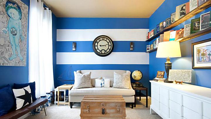Como pintar una pared a rayas verticales fabulous great - Paredes a rayas verticales ...