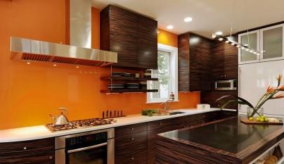 Fotos de cocinas de color naranja - Pared naranja combina con ...