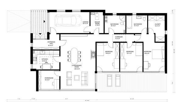 Plano de casa de 176 metros cuadrados2 for Cuanto cuesta un plano para construir una casa