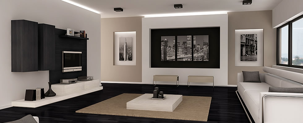 Blanco y negro salon2 for Salones blancos modernos