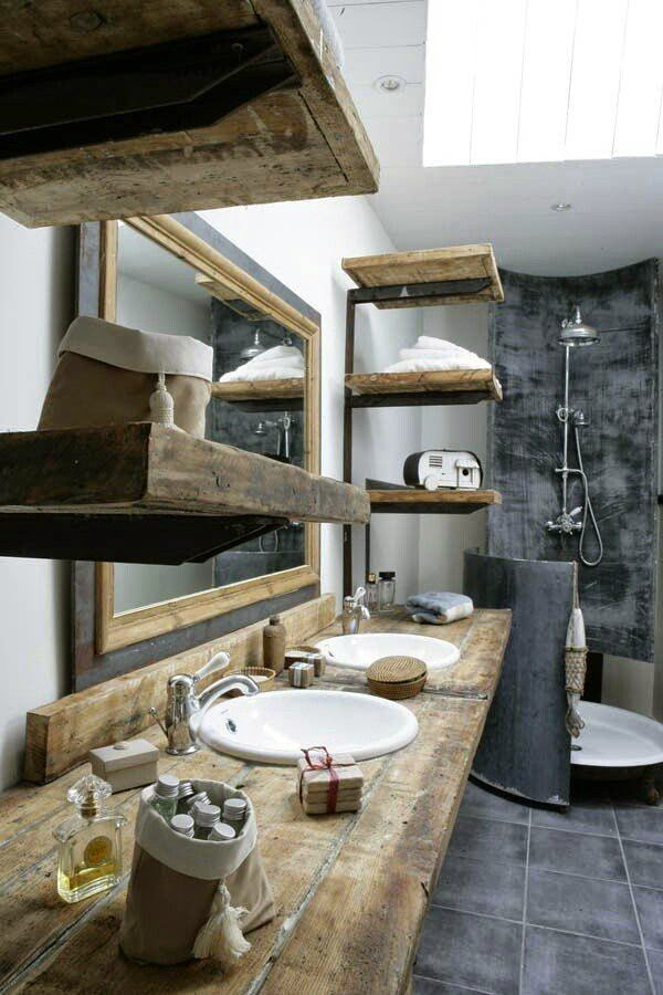Baños Rusticos Ideas:Rustic Industrial Bathroom