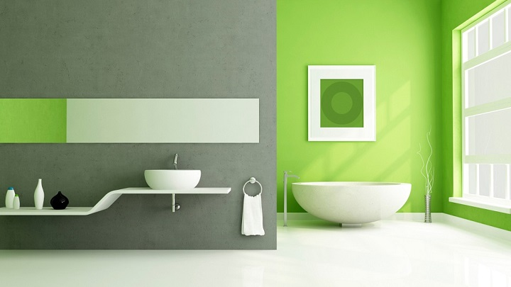 Imagenes De Baños Verdes:Lime Green and Gray Bathroom