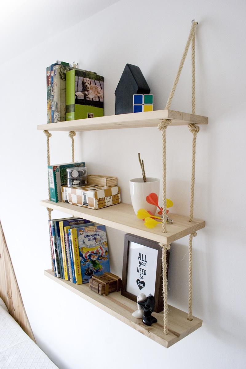 Diy estanteria cuerdas 2 - Como decorar una estanteria de madera ...