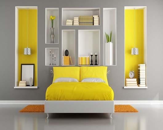 Dormitorio amarillo19 for Colores que pegan con el gris