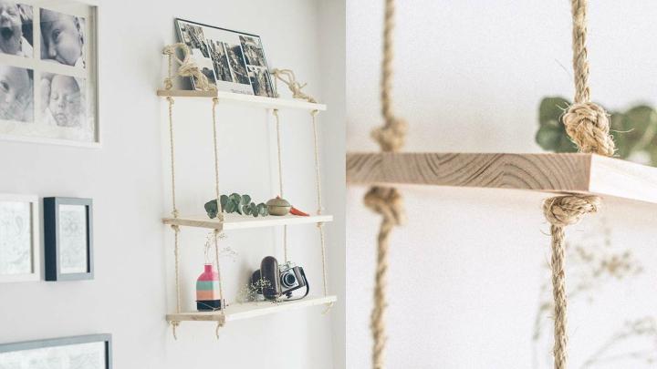 Diy estanter a de madera y cuerdas - Como hacer estanterias de madera ...