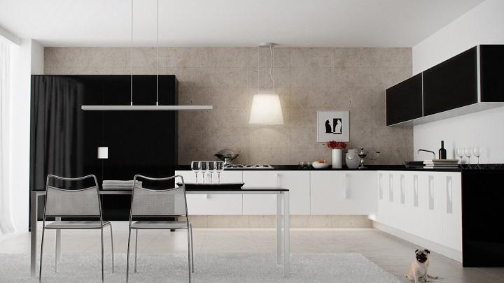 cocina blanco y negro foto