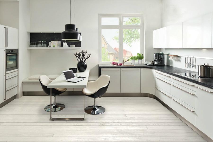 Cocina blanco y negro10 for Modelo de cocina 2016
