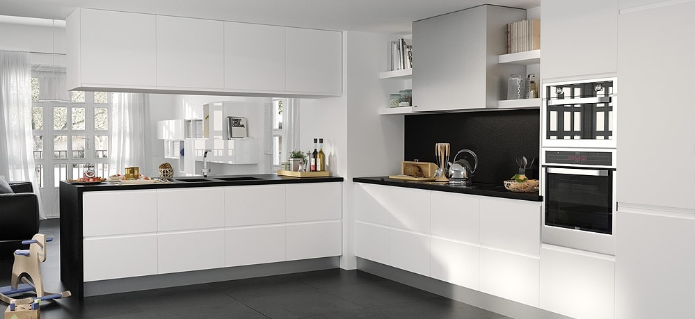 Cocina blanco y negro18 for Cocinas en color blanco y gris