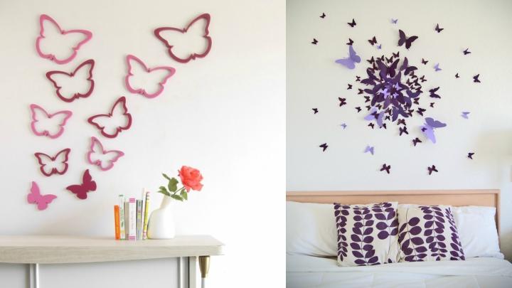 mariposas pared blanca