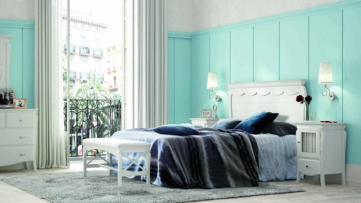 dormitorio blanco azul foto