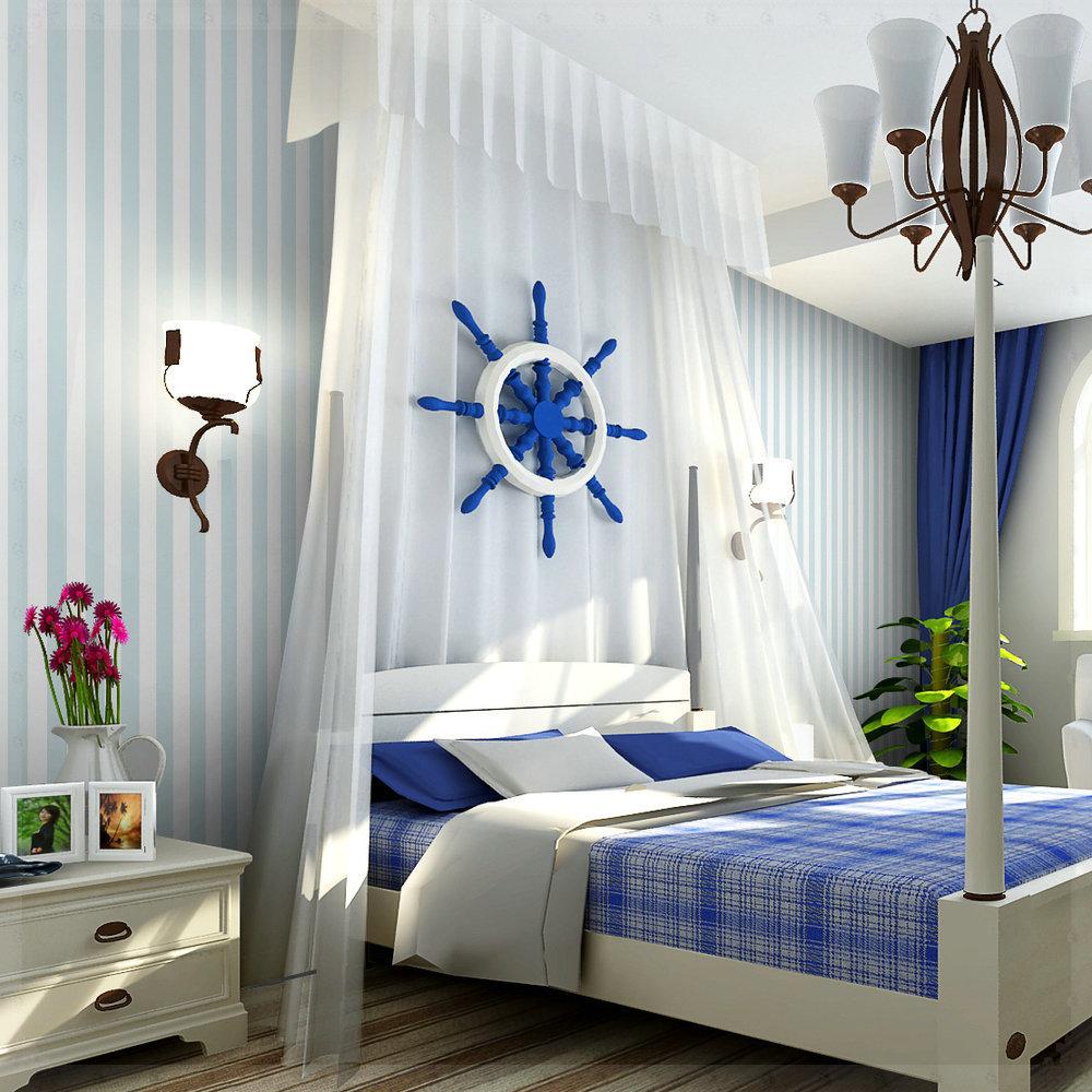 Dormitorio blanco azul30 for Cuartos decorados azul