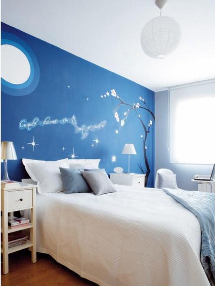 Dormitorio blanco azul6 for Cuartos decorados azul
