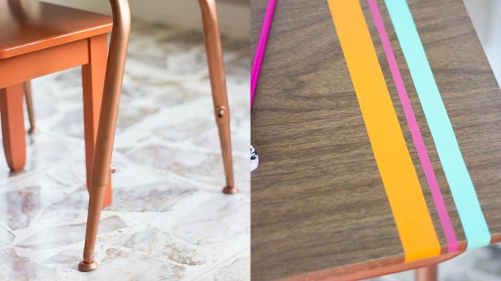 DIY escritorio restaurado detalles