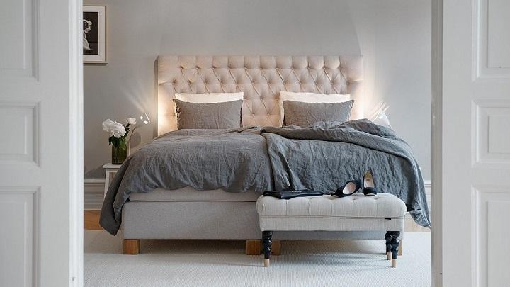 blanco gris dormitorio foto