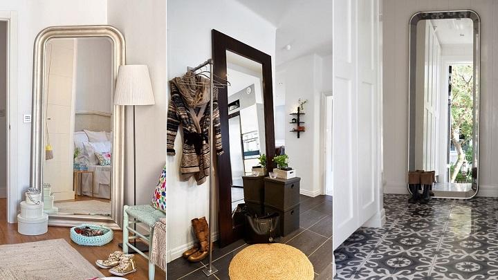 decorar con espejos apoyados en el suelo