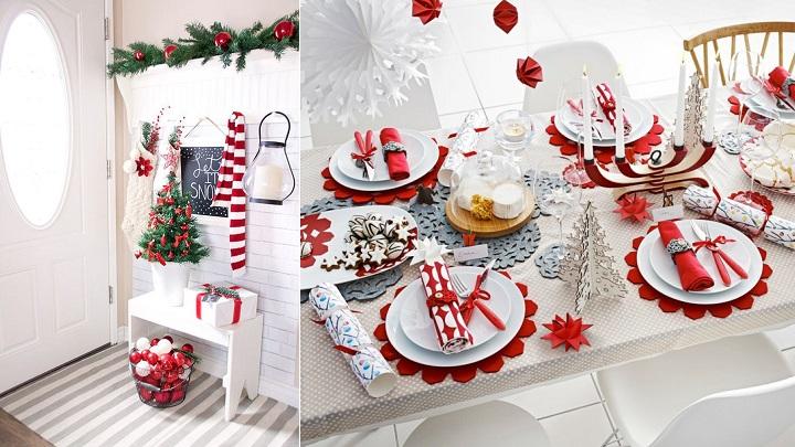 Decoraci n de navidad en blanco y rojo for Catalogos decoracion hogar