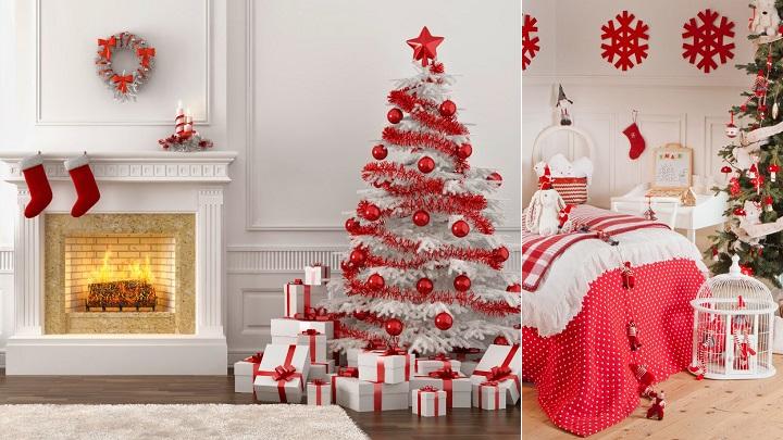 Decoraci n de navidad en blanco y rojo - Arboles de navidad blanco decoracion ...