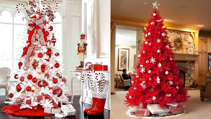 Decoraci n de navidad en blanco y rojo - Decorar arbol de navidad blanco ...