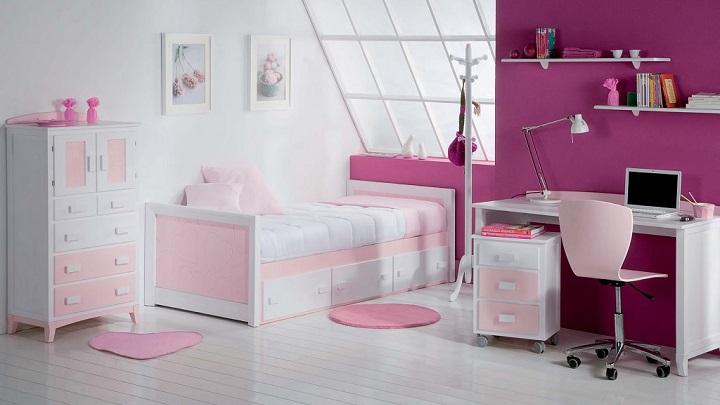 fotos de habitaciones infantiles y juveniles de color rosa