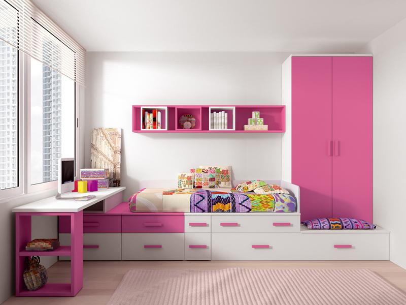 Habitacion rosa19 Habitaciones juveniles rosa