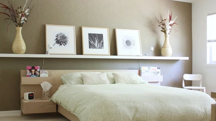 Ideas para decorar con baldas y optimizar el espacio Decorar cabecero de cama con fotos