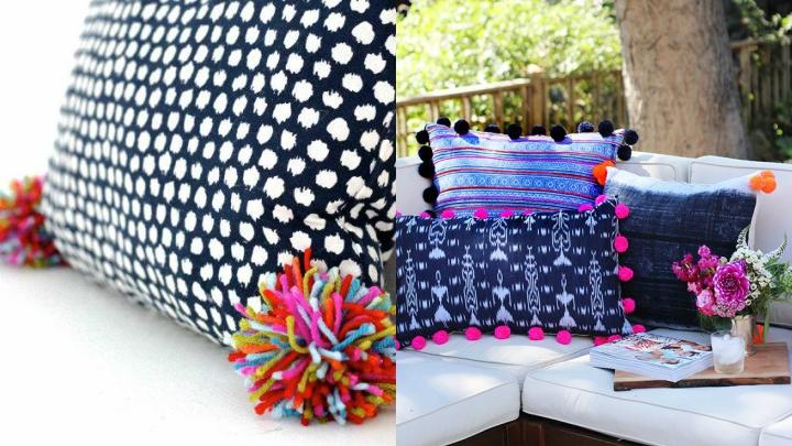 9 ideas para decorar con pompones - Decorar cojines ...