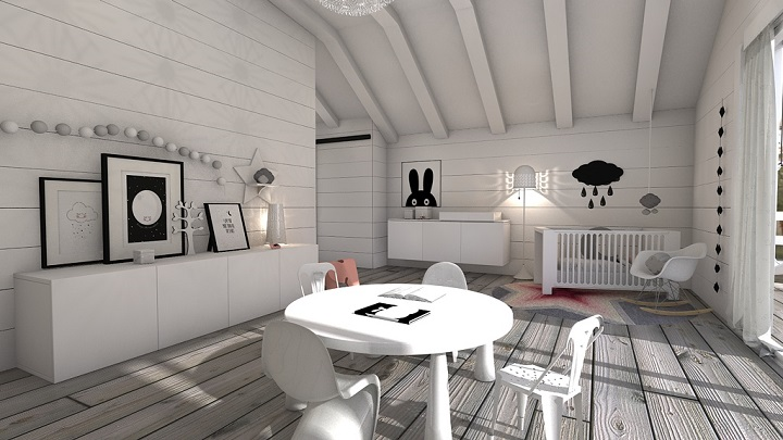 Fotos de habitaciones infantiles y juveniles en blanco y negro - Habitaciones nordicas ...