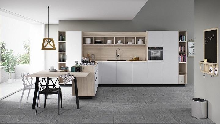 Fotos de cocinas en blanco y madera for Cocina blanca y madera moderna