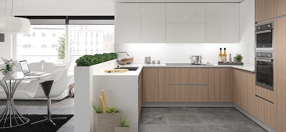 Cocina blanca madera33 for Cocinas blancas y grises fotos