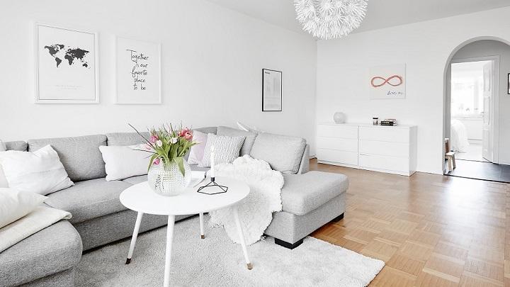 Fotos de salones decorados en blanco y gris - Imagenes de salones de casas ...