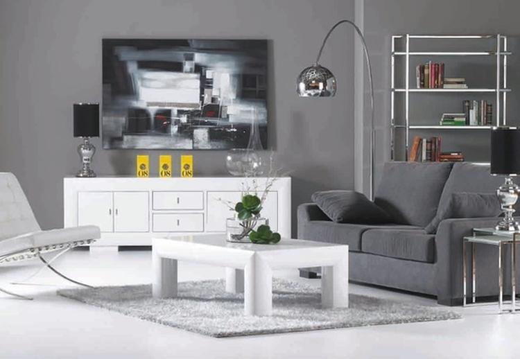 Salon blanco y gris8 - Salones decorados en blanco ...