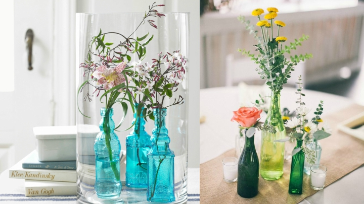 Ideas para decorar con botellas de cristal for Reciclar botes de cristal decoracion
