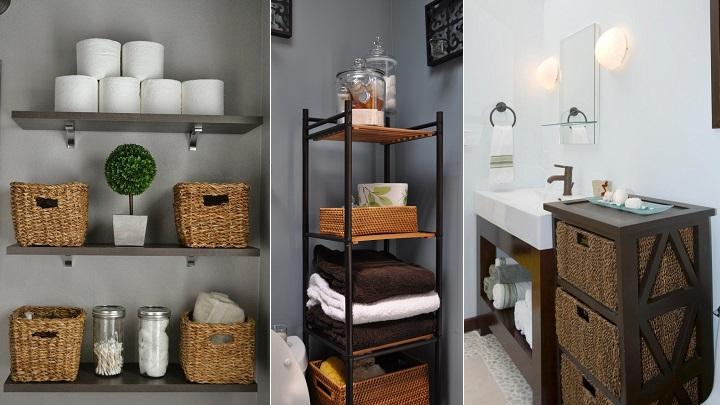 Ideas para organizar el baño con cestas de mimbre