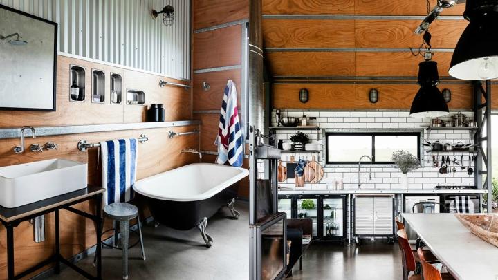 Una casa de vacaciones con estilo industrial en nueva for Muebles industriales