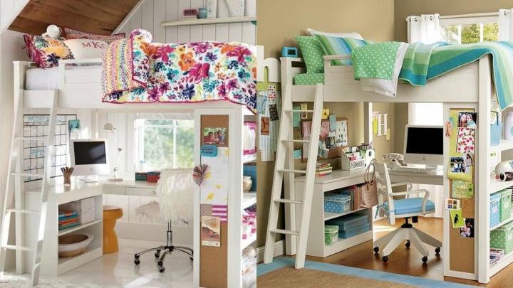 Distintas ideas para usar literas en el dormitorio - Literas con escritorio abajo ...