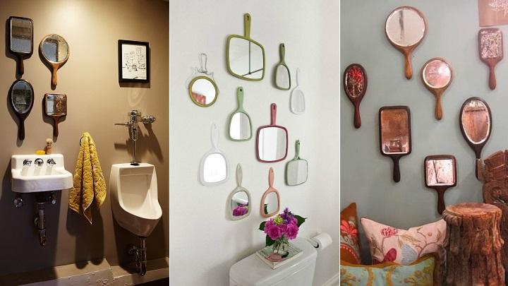 decorar la pared con espejos de mano
