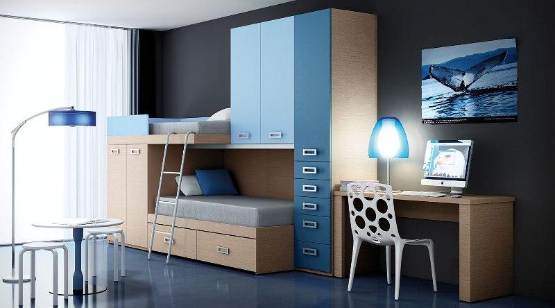 Habitacion azul35 for Habitaciones juveniles muebles rey