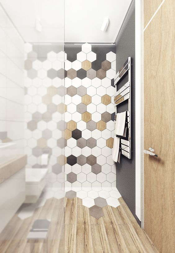 Ideas baldosas hexagonales 10 - Azulejos hexagonales bano ...