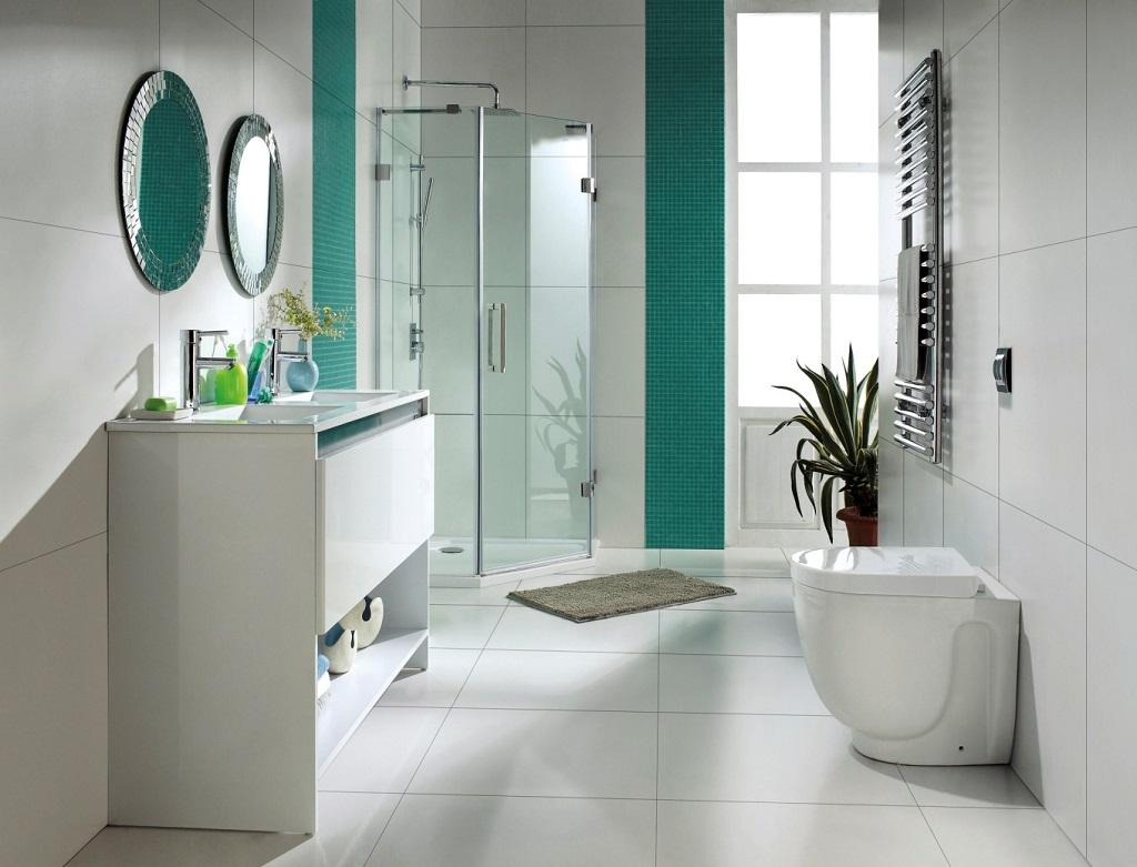Bano blanco y verde11 for Fotos de banos decorados